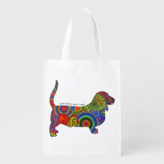 """""""Amor de la paz y tote del arte pop de los perros Bolsas Para La Compra"""
