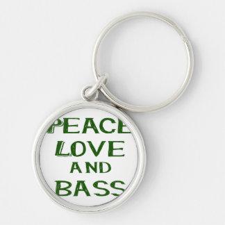 amor de la paz y verde del bernice del bajo llavero redondo plateado