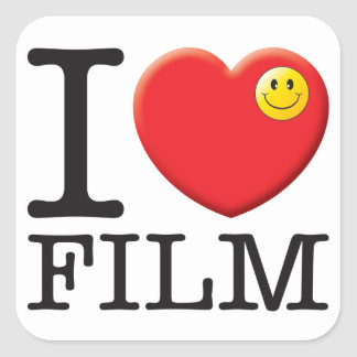 Amor de la película pegatina cuadrada