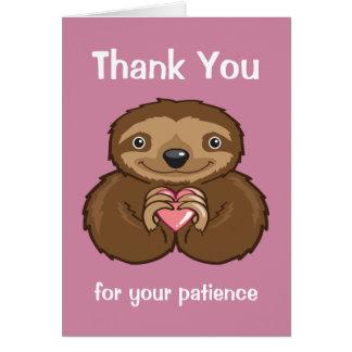Amor de la pereza - gracias por su paciencia tarjeta de felicitación
