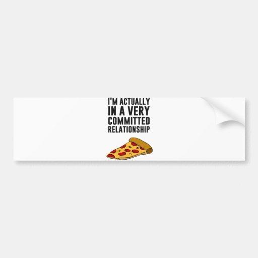 Amor de la pizza de salchichones - una relación pegatina para auto