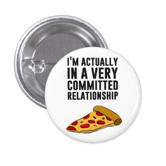 Amor de la pizza de salchichones - una relación se pin redondo de 1 pulgada