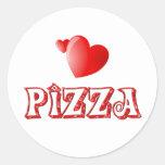 Amor de la pizza etiqueta redonda