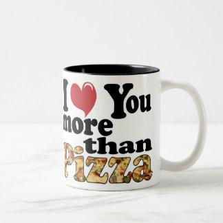 Amor de la pizza taza de dos tonos