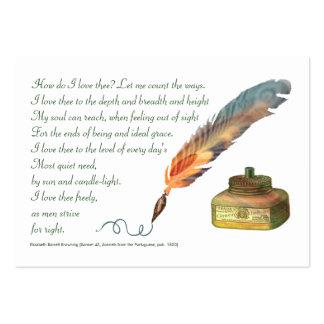Amor de la pluma y de la tinta tarjetas de visita grandes