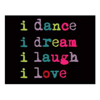 Amor de la risa del sueño de la danza, postales fr