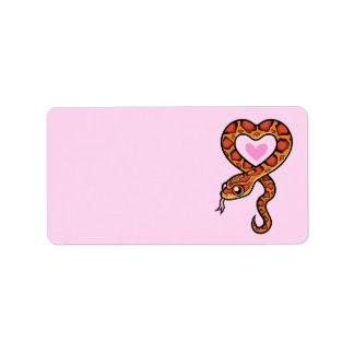Amor de la serpiente etiquetas de dirección