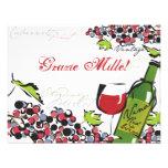Amor de la tarjeta de nota del vino y de la uva invitaciones personales