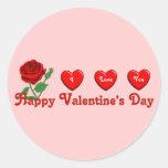 Amor de la tarjeta del día de San Valentín Etiqueta Redonda