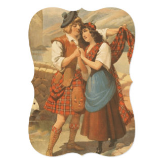 Amor de la tela escocesa de la CAMISETA Invitación 12,7 X 17,8 Cm