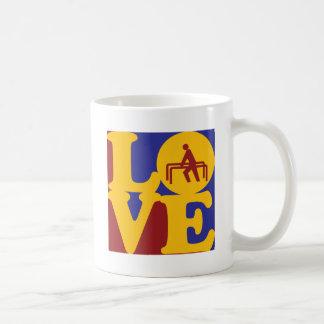 Amor de la terapia física tazas de café