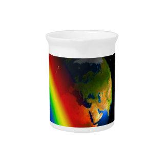Amor de la tierra y del espacio del arco iris jarron