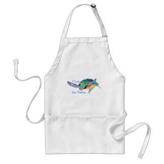 Amor de la tortuga de mar una tortuga delantal