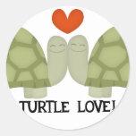 Amor de la tortuga etiquetas redondas
