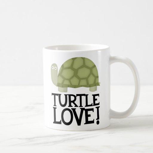 Amor de la tortuga tazas