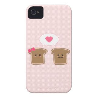 Amor de la tostada de Kawaii iPhone 4 Case-Mate Protectores