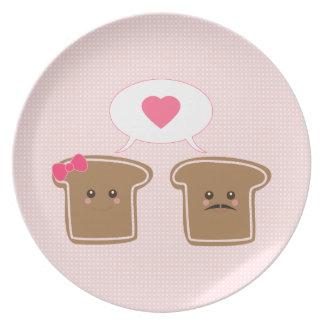 Amor de la tostada de Kawaii Platos Para Fiestas