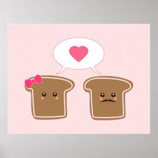 Amor de la tostada de Kawaii Posters