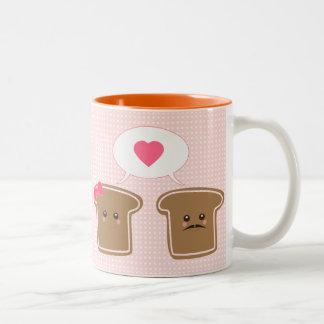 Amor de la tostada de Kawaii Taza De Café De Dos Colores