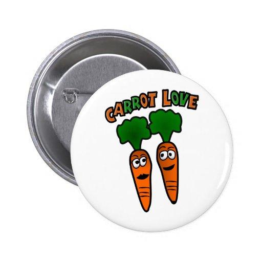 Amor de la zanahoria con dos zanahorias en amor pin redondo 5 cm