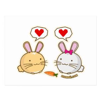 Amor de la zanahoria del conejito de Fuzzballs Postal
