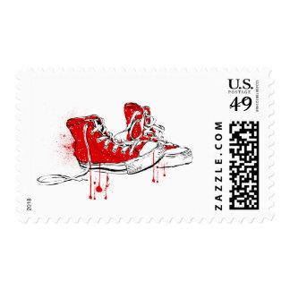 Amor de la zapatilla de deporte - rojo sellos