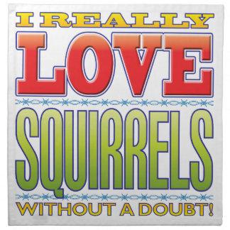 Amor de las ardillas servilletas imprimidas