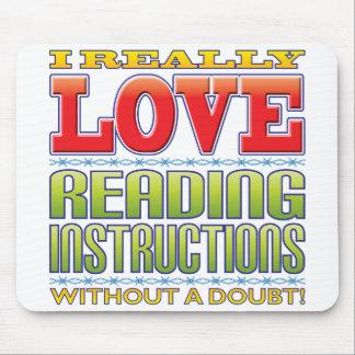 Amor de las instrucciones de la lectura tapete de ratón