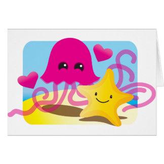Amor de las medusas tarjeta de felicitación