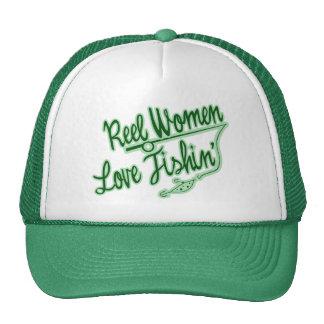 Amor de las mujeres del carrete que pesca al aire  gorras de camionero