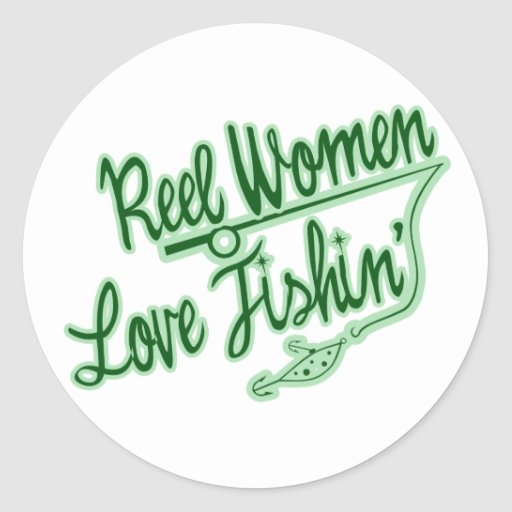Amor de las mujeres del carrete que pesca al aire pegatinas redondas