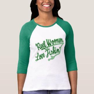 Amor de las mujeres del carrete que pesca al aire playera