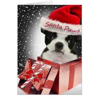 Amor de las patas de Boston Terrier Santa que uste Tarjetón