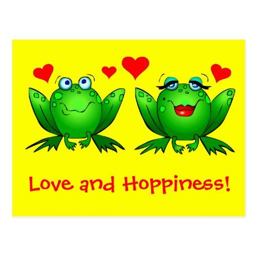 Amor de las ranas y amarillo de Hoppiness Tarjetas Postales