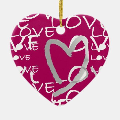 Amor de las rosas fuertes - frente y parte posteri ornamento de navidad