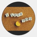 Amor de las tarjetas del día de San Valentín Etiqueta Redonda