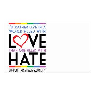 Amor de LGBT sobre odio Plantillas De Tarjeta De Negocio