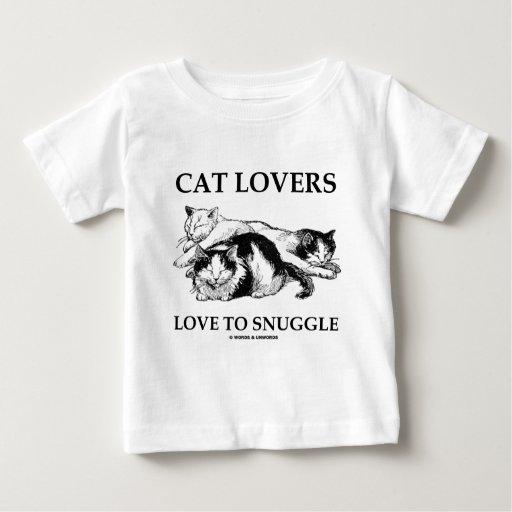 Amor de los amantes del gato a snuggle playeras