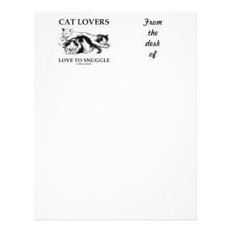 Amor de los amantes del gato para snuggle tres plantillas de membrete