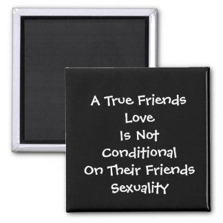 Amor de los amigos verdaderos imán cuadrado