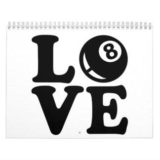 Amor de los billares calendario de pared
