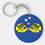 Amor de los Butterflyfish del mapache Llaveros Personalizados