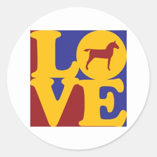 Amor de los caballos pegatina redonda