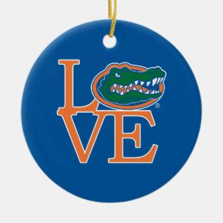 Amor de los cocodrilos de la Florida Adorno Navideño Redondo De Cerámica