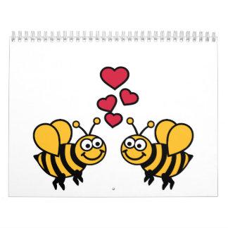 Amor de los corazones de las abejas calendarios de pared