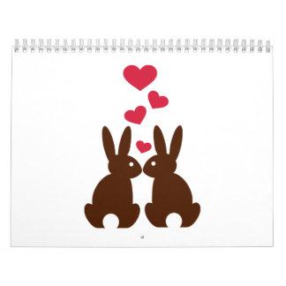 Amor de los corazones de los conejitos calendarios de pared