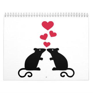 Amor de los corazones del ratón de los ratones calendarios de pared