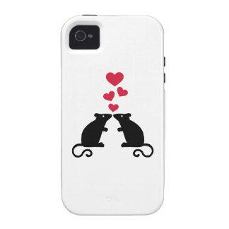 Amor de los corazones del ratón de los ratones iPhone 4/4S carcasa