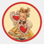 Amor de los corazones del vintage etiqueta redonda