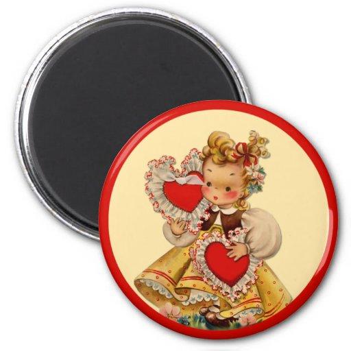 Amor de los corazones del vintage imán redondo 5 cm